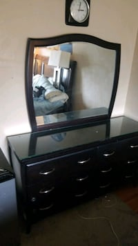 Dresser with mirror and bed side cabinet