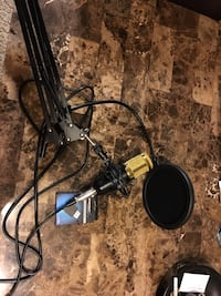 Microphone (Gold) with stand and Adaptor