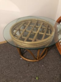 round brown wooden frame glass top table Calgary, T3E 3M3