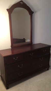 brown wooden dresser with mirror Oakton