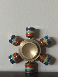 Six Sided Gold And Rainbow Brass Fidget Spinner