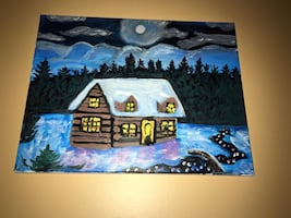 Brown house cover by snow surrounded of trees painting