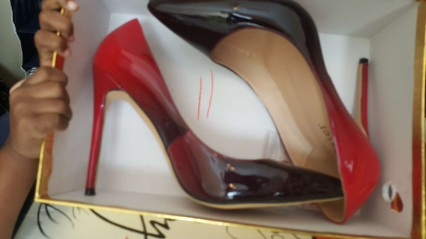 new style 49a32 574fa black-and-red ombre Christian Louboutin patent leather stilettos in box
