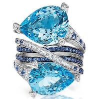 Ring 2 Aquamarine Oval Stones with Blue Topaz Interlaced with CZ Gemstones in Sterling Silver 925. Size 7.5 Stanton, 90680