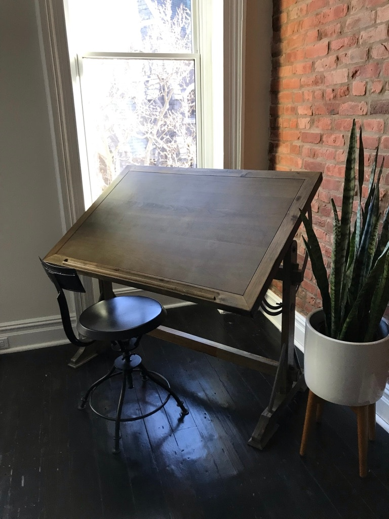 Industrial Chic Drafting Desk And Metal Chair