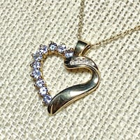 Genuine 10k Yellow Gold Sapphire & Diamond Heart Pendant with 14k Gold Chain