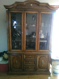 brown wooden framed glass display cabinet Wheaton, 60187
