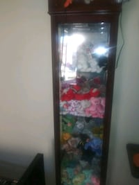 Curio cabinet full of Beanie Babies