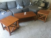 two square and one rectangular brown wooden side tables Alexandria, 22311