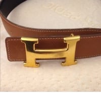 brown leather belt with gold buckle Toronto, M1R 1C9