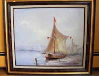White and brown sailing boat painting