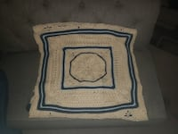 Hand-made beige and blue throw blanket