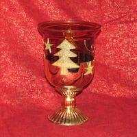 Gold Glass Candle Holder Christmas Tree Star Sparkles Mississauga