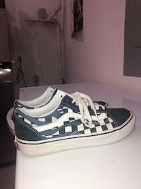 Size 8.5 blue and white checkered vans with blue flames