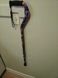 blue and red floral cane