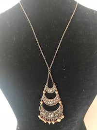 silver necklace with brown pendant Indianapolis, 46226