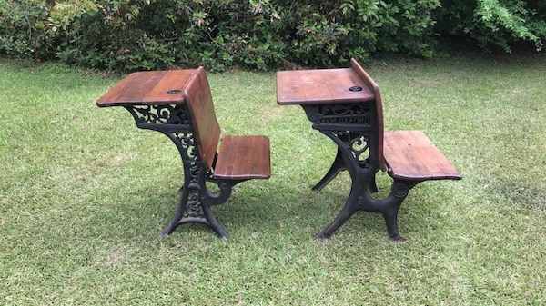 Marvelous Vintage School Desk Wood And Cast Iron W Ink Wells Interior Design Ideas Ghosoteloinfo