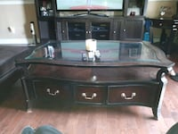 brown wooden framed glass top TV stand Edmonton, T5H 4E3
