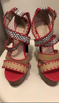 red-and-white open toe ankle strap heels Woodbridge, 22193
