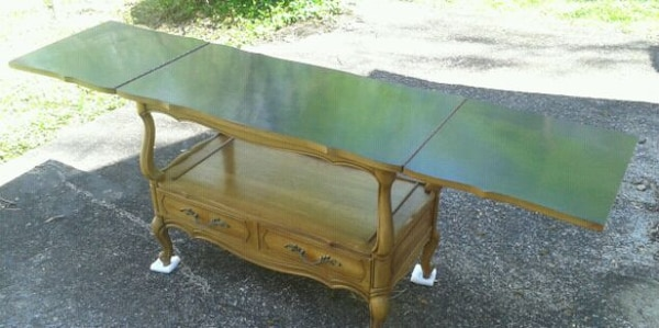 Vintage 1970s VANLEIGH Wood Table Fold Out Top 973b4721-fd5c-47a4-82bf-03d1361fa13b
