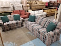 Preppy Plaid Couch and Loveseat Set with Throw Pillows Denver, 80234