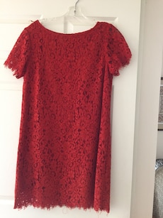 ZARA Red Lace floral crew-neck dress
