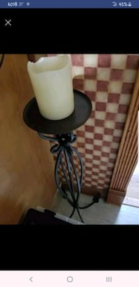 Black candle holder stand, battery operated candle
