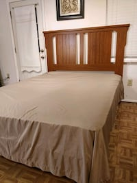 Nice queen bed frame with mattress and box spring  21 mi