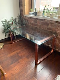 Glass coffee table with rose brass legs New York, 11378