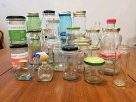 Pickle jars, spice jars, glass, small to large