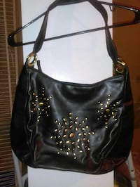 black leather studded hobo bag