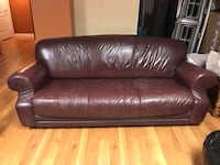 Brown leather 3-seat sofa Georgetown, L7G 1M9