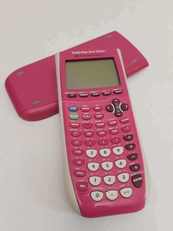 pink Texas Instruments TI-84 Plus calculator