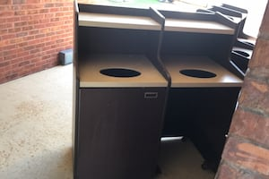 Two Sets of Double Side Commercial Trash Cans