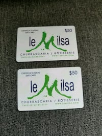 two $50 Le Milsa gift cards Gatineau, J9H 7C7