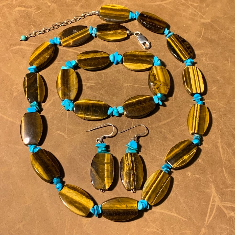 Genuine Tigers Eye Turquoise Bead Necklace with Sterling Silver Clasp 94325412-e004-4467-acdf-6b28966b994b