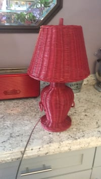 Red Wicker Table Lamp, Great Condition! Georgetown, 19947