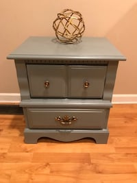 gray wooden 2-drawer nightstand