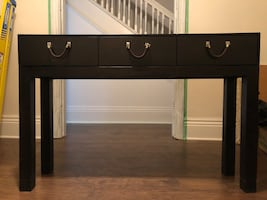 Wood Entry / Hall Console Table with Leather Pulls