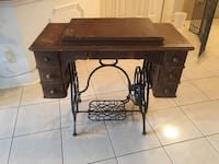 brown wooden treadle sewing machine table Cambridge, N1R