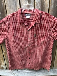 Columbia XCO red & white plaid button down short sleeve shirt mens XL Independence, 97351