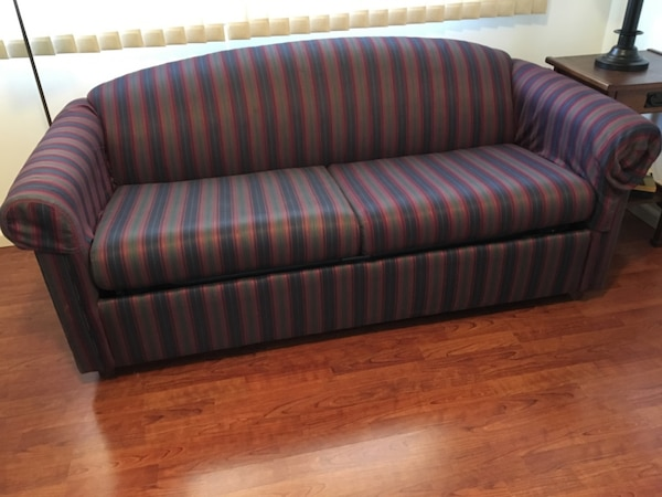 Used Navy And Red Striped Fabric Sleeper Sofa Superior Wi