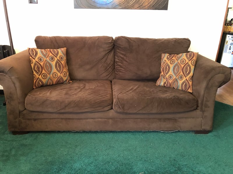 Used Chocolate Brown Faux Suede Couch