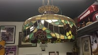 White and green stained glass pendant lamp. FIRM