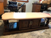 brown wooden framed glass top TV stand Fairfax, 22030