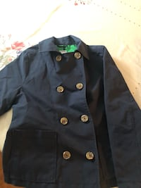 Navy Soft Pea Coat Trench