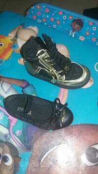 toddler's black bow accent flat and athletic shoe