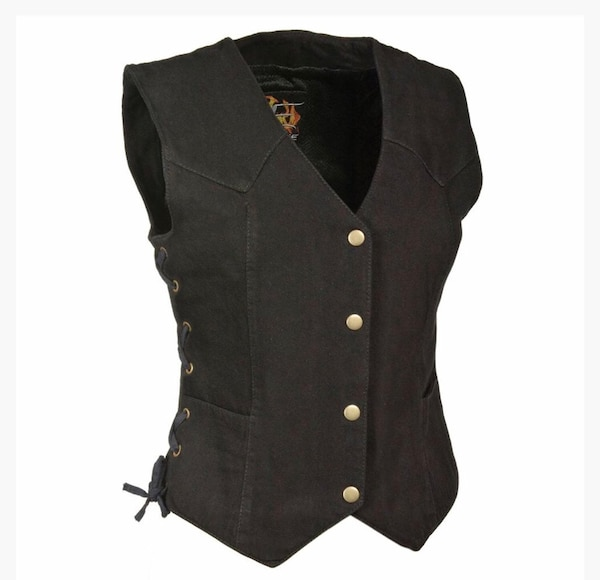 Black Denim ladies Motorcycle Vest