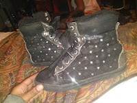 black and gray leather tufted high top sneakers Kansas City, 66104