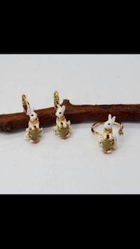 Rabbits Bunnies Adjustable Free Size Open Ring & Earrings Jewelry Set Vancouver, V5X 1A7